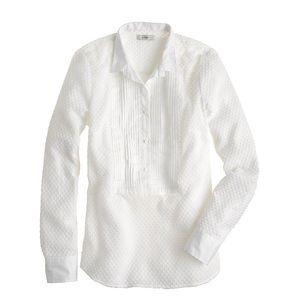 EUC J.Crew Swiss-Dot Tuxedo Shirt